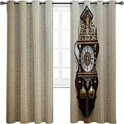 Window Curtain Panel Clock Thermal Insulated Window Curtains Drapes An Antique Style Wood Carving Clock with Roman Numerals Hanging on the Wall Design 2 Grommet Top Curtain Panels,52W x 63L
