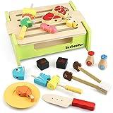 BeebeeRun Küchenspielzeug Holz für Kinder, Lebensmittel Spielzeug mit Kochutensilien, Barbecue Grill Spielzeug Set, Kinderküche Rollenspiele Spielzeug Geschenk für Jungen Mädchen 3 Jahre