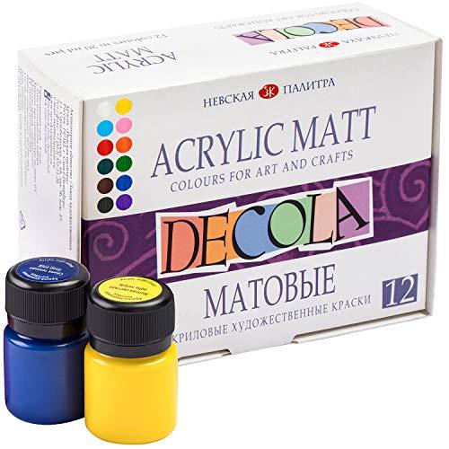 Nevskaya Palitra Acrylfarben Set Matt | 12 x 20 ml Malfarben | Acryl Farben zum Malen und Dekorieren | Qualität von Decola