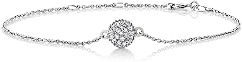 Gem Stone King 10K White Gold Diamond Pave Disc Women's Adjustable Women's Tennis Bracelet (0.10 Cttw, I Color, I1 Clarity), 5.5inches to 6.5inches
