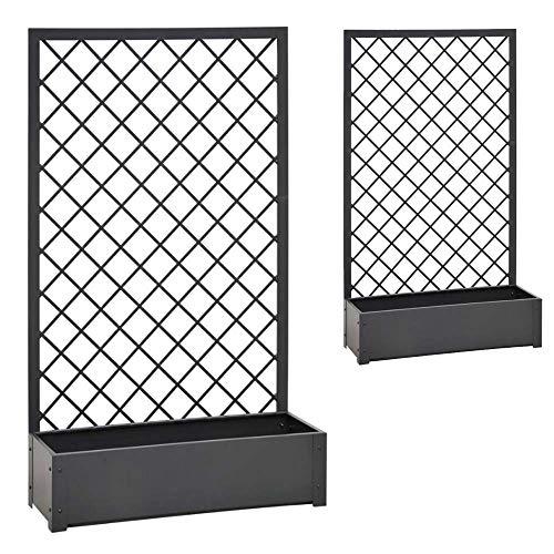 BOXLUM Verdemax 2 Fioriere in Metallo da Giardino Steel Jasmine Antracite Ciascuna Dimensioni cm 90x32xh150