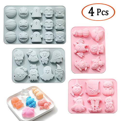 Halloween Baking Molds 4 Pcs Halloween Molds Silicone Cookie Mould for Dessert, Soap, Bath Bomb