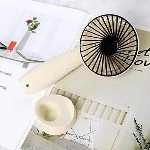 Mini Ventilador de Mano, Mini Ventilador USB, Ventilador de Escritorio portátil Recargable, Adecuado para Viajes Deportivos al Aire Libre en la Oficina en el hogar-Blanco Marfil_Los 9.5 * 7 * 19cm