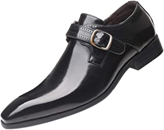 Inlefen Men Leather Shoes Pointed Buckle Soles Formal Business Dress Shoes