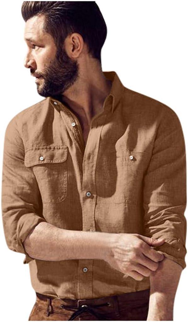 YAYUMI Men's Solid Color Shirt Multi Pocket Button Long Sleeve Fashion Fall Winter Lapel Casual Top