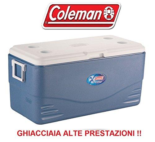 Glacière 90 litres modèle Xtreme 100 bleu marque Coleman – Maintient le glace jusqu'à six jours – Équipée de poignées – Vanne de vidange – Idéal pour pêche et chasse.
