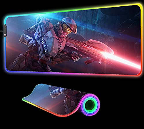 Gaming Mouse Pad Halo 4 Video Games Led Lighting Gaming Mouse Pad RGB LED Extended Illuminated Keyboard Blanket Mat with Backlit Gift,31.49 inch x12 inch