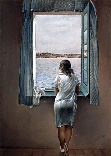 Impresión artística 395 de la obra de Salvador Dalí Muchacha en la ventana 1925