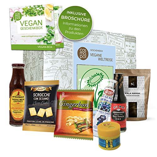 Excepcional caja de regalo Vegan World Tour | Comida vegana de todo el mundo | Regalos veganos dulces para veganos «Muvy Para regalo de cumpleaños de caja sorpresa de dieta vegana