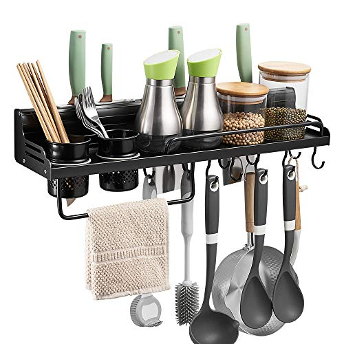 BESy Multifunctional Kitchen Wall Storage Pot Lid Rack, Hanging Pot Rack Organizers Wall Mounted, Kitchen Cooking Utensil Holder Caddy with Bottle Rack, Knife Pan Hanger with 10 hooks, Matte Black