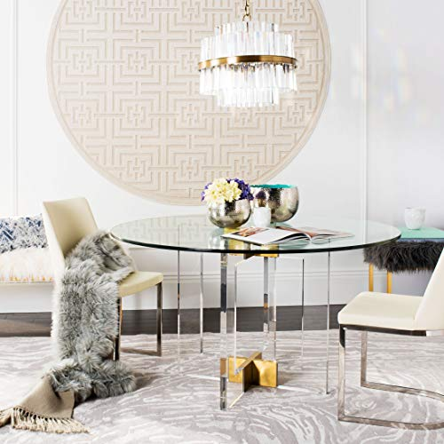 Safavieh Couture Home Xevera Glam Brass Acrylic Glass Top Round Dining Table