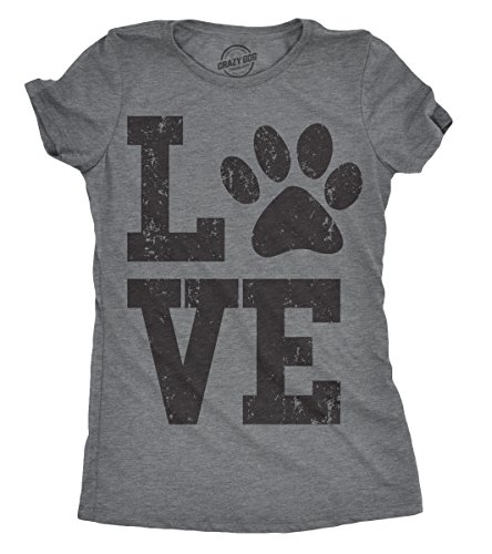 Crazy Dog Tshirts - Womens Love Paw Tshirt Cute Adorable Dog Lover Pet Tee for Ladies (Dark Heather Grey) - L - Divertente Donna Magliette