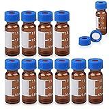 FOUR E - Viales de ámbar sólido de 2 ml con parche de escritura 9-425 con rosca superior y tapa azul con agujero + PTFE rojo + Septa de silicona blanca para cromatografía HPLC GC