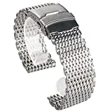 18/20/22/24mm Stainless Steel Milanese Shark Mesh Watch Band Strap Bracelet, Replacement Wrist Bracelet, Replacement Wrist Bracelet Adjustable Length Quick Release Mesh Watch Straps for Mens Women