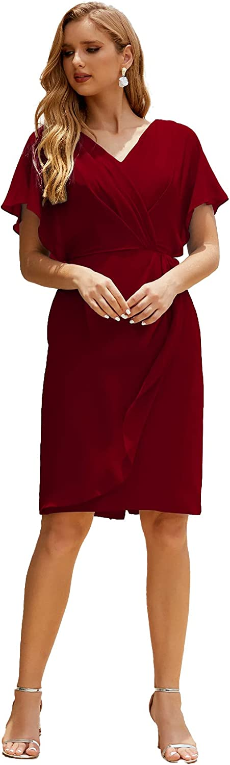 Numbersea Mother of The Bride Dresses Plus Size V-Neck Knee Length Formal Prom Dress for Wedding Guest Women