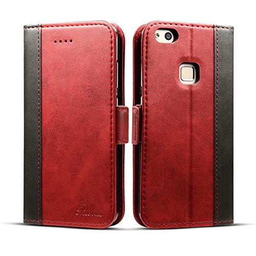 Rssviss Huawei P10 Lite Hülle,Huawei P10 Lite Handyhülle Premium P10 Lite Lederhülle für Huawei P10 Lite Handyhülle, 5.2 Zoll, Rot (W3)