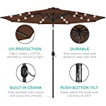 Best Choice Products 10ft Solar LED Lighted Patio Umbrella w/Tilt Adjustment, Fade-Resistant Fabric - Black 12 24 SOLAR-POWERED LIGHTS: Use it day or night, with 24 built-in solar powered LED lights that can run for 6-7 hours HIGH-DURABILITY FABRIC: Made with high-quality water-, UV-, and fade-resistant fabric to last for years of enjoyment ADJUST YOUR SHADE: Stay cool at all times, as the easy push-button tilt system gives coverage no matter what time of day, while a wind vent cools air under the umbrella