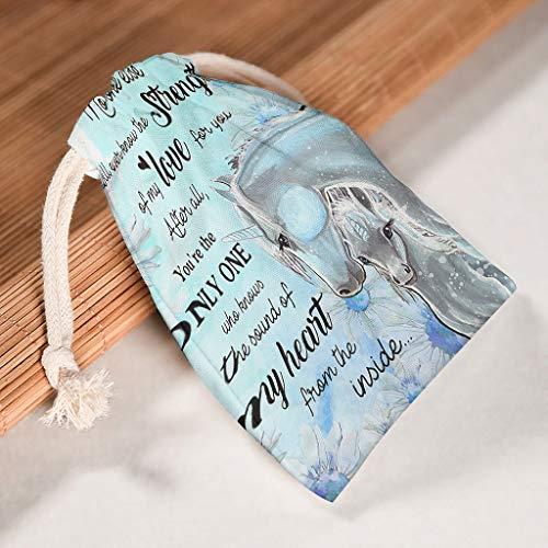NC83 12-pack voor 12 drawstrings canvas trekkoord doek tas herbruikbaar product tas pak voor Thanksgiving bruiloft geschenken wrap tassen - No One Else Will Ever You are the Only One 12 * 18cm wit