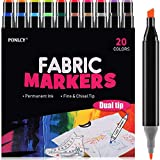 PONLCY Large Fabric Markers for T-shirts, 20 Colors Permanent Nontoxic Fabric Pens, Dual Fine & Chisel Tips Fabric Paint Pen Kit for Kids DIY Gifts