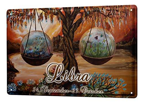 LEotiE SINCE 2004 Blechschild Krakowski Sternzeichen Lateinisch Libra Waage Horoskop Sternbild 20x30 cm Vintage Retro Schild Wanddekoration