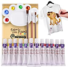 COLORFUL Fabric Paints for Clothes with 12 Colors 3 Brushes,1 Palette.Non-Fading Permanent Fabric Paints on T-Shirt,Jackets,Socks,Shoes,Canvas.No Heating Needed & Washable Textile Paints