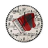 Pealrich Reloj de pared silencioso sin garrapatas, 25 x 25 cm, diseño de acordeón rojo con lunares en la partitura, reloj rústico de decoración del hogar, fácil de leer