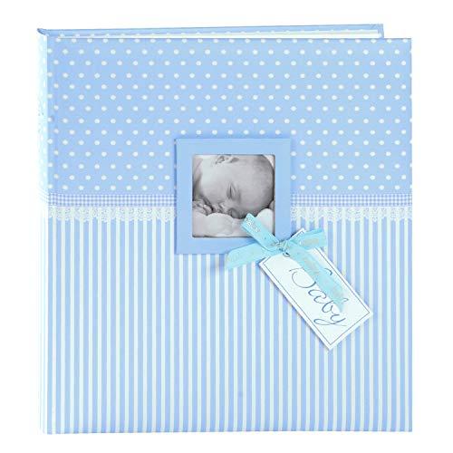 goldbuch 15802 Babyalbum mit Fensterausschnitt, Sweetheart, 30 x 31 cm, Baby Fotoalbum mit 60 weiße Blankoseiten & 4 illustrierten Seiten und Pergamin-Trennblättern, Kunstdruck, Blau