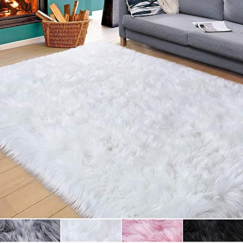 Homore Soft Fluffy Faux Fur Area Rug for Bedroom Living Room, Extra Comfy and Fuzzy Rugs, Washable Plush Carpet for Bed Home Decor, 4x6 Feet White
