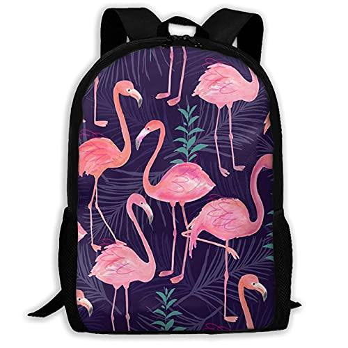 Bingyingne Simpatico zaino con palma fenicottero, borsa per libri resistente e carina con tasche spaziose, zainetto per college con stampa divertente, zainetto da viaggio unico, regalo