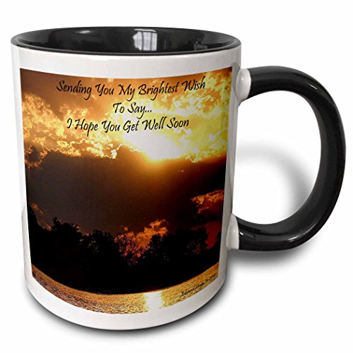 "3dRose mug_40656_4""Golden Sunset Get Well Soon"" Two Tone Black Mug, 11 oz, Multicolor"