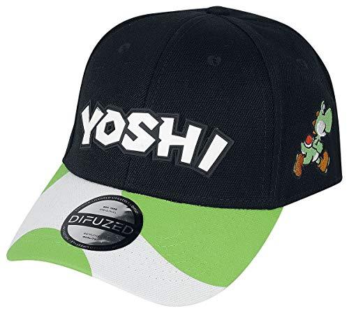 Super Mario Yoshi Unisexe Casquette Noir One Size, 85% Polyacrylique, 15% Coton,