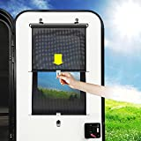 Auto Retractable RV Door Window Shade Roller 15X26.8 inch, TITANGEAR Camper Entry Window Blinds, RV Curtains Roller, Easy to Install Without Cutting or Drilling, Black