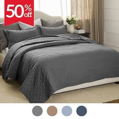 Bedsure Quilt Set Solid Grey Full/Queen(86 x96 ) Basketweave Pattern Lightweight Hypoallergenic Microfiber Simone by