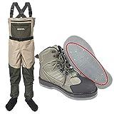 Muchen Zapatos de pesca con mosca de Waders con suela de fieltro y pantalones, ropa impermeable para cazar, botas de agua con fugas, 48 y XXL