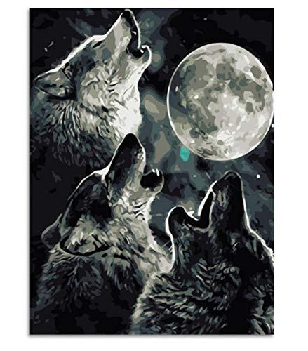 Menddy Clair de Lune Loup Animaux Peinture Bricolage Peinture numérique par numéros Moderne Wall Art Photo pour Mur de la Maison Artwo 40x50cm sans Cadre