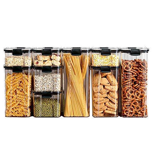 YLCCC 9er-Set Getreide Mehl Zucker Vorratsdosen Set, Frischhaltedosen Kunststoff Vorratsbehälter Aufbewahrungsdose für Tee Kaffee Spice Mehl Süßigkeit