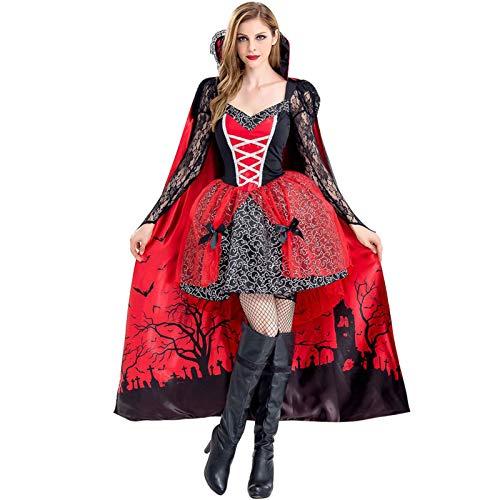 PROTAURI Vampiro de disfraces de Halloween para mujer - Disfraz de bruja reina con capa Cosplay Cosy Black Ghost Zombie Party Outfits