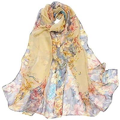Scarfs Shawl for Women, Zyqzw Chiffon Scarves Floral Pattern Print Headband Sunscreen Wrap Shawls Long Bandanas Neckerchief