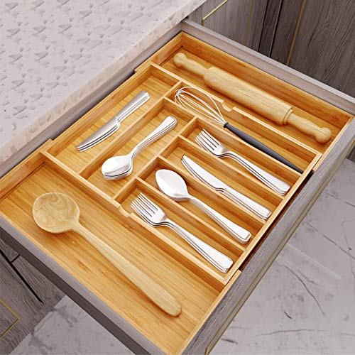 Hamonical Kitchen Bamboo Drawer Organizer, Cutlery Tray Desk Drawer Organizer Silverware Holder with Grooved Drawer Dividers for Flatware and Kitchen - 100% Pure Bamboo Cutlery in Natural Color