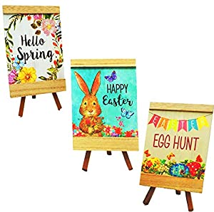 3 Pc Set Wooden Easter Table Decoration Measures Approximately 5x7 Inch Rustic Easter Decorations for Home, Spring Tabletop Centerpiece, Farmhouse Home Decor for Indoor, Great for Kitchen, living room fireplace decor 3 Designs: Happy Easter, Hello sp...