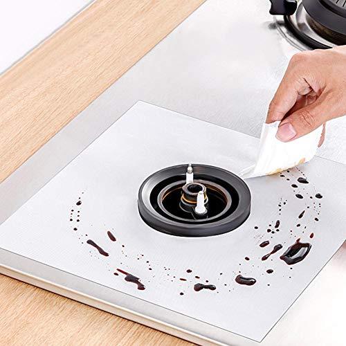 Coussin de cuisinière à gaz Anti-Corrosion, 6 couvercles de brûleur de poêle, pour Accessoire de Cuisine à Domicile(Silver)