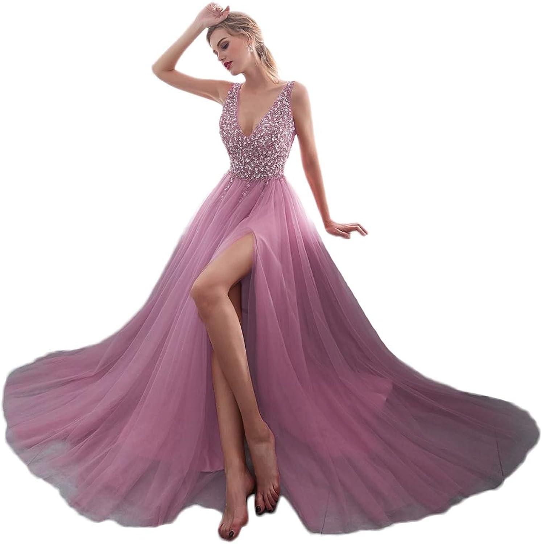 Yisha Bello VNeck Beaded Pro Dress for Women Long Tull ALine Formal Evening Dress