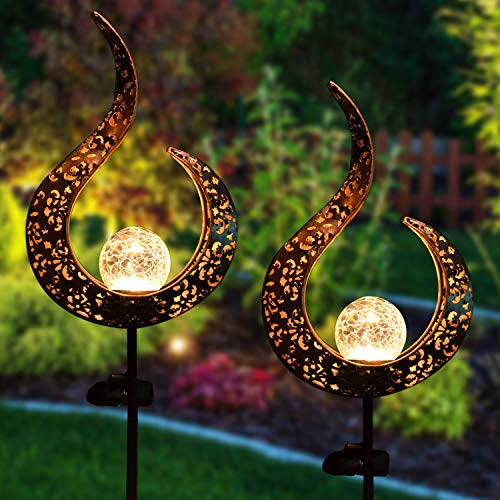 Joiedomi 2 Pack Crackle Glass Globe Metal Solar Yard Garden Stake Lights, Pathway Outdoor Stake Lights, Waterproof for Walkway, Pathway, Yard, Lawn, Patio or Courtyard
