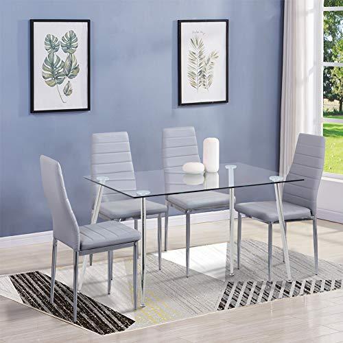 GOLDFAN Esstisch mit 4 Stühlen Moderner Rechteckiger Esstisch Glas Wohnzimmertisch Küchen Leder Esszimmerstuhl Mit Chrombeine Für Wohnzimmer Esszimmer, Silber& Grau