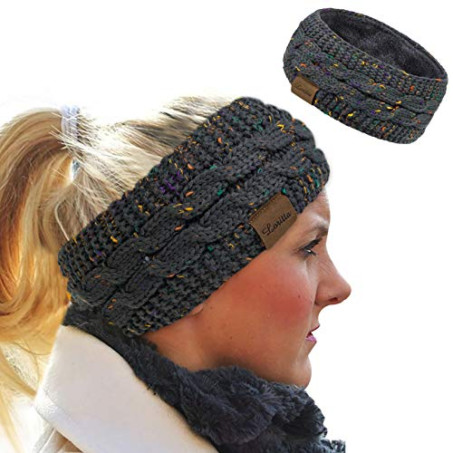Loritta Womens Ear Warmers Headbands Winter Warm Fuzzy Cable Knit Head Wrap Fleece Lined Gifts,Dark Gray
