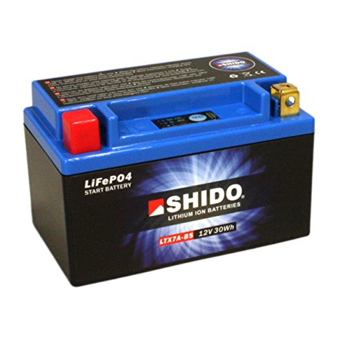 Batterie Shido Lithium LTX7A-BS / YTX7A-BS, 12V/6AH (Maße: 150x87x94) für SYM/Sanyang Fiddle II 125 Baujahr 2012
