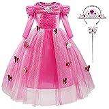 ChunTian Deguisement Princesse Robe Fille Costume Papillon Rose Enfant Manches Longues Carnaval avec...