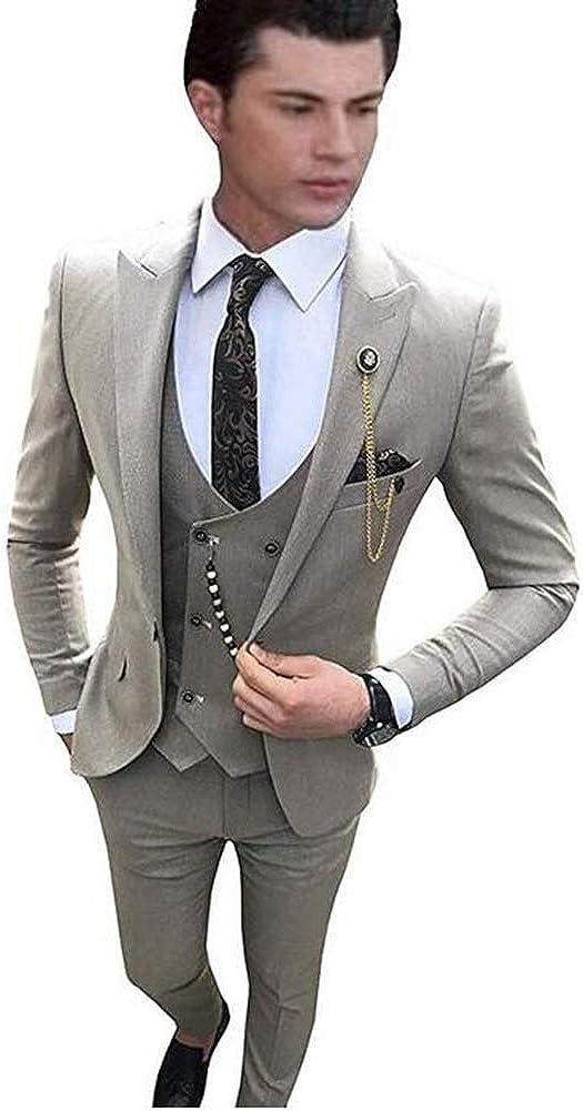 TOPG Mens?Suits?Slim?Fit?3?Piece?Business Suit Groomsman?Wedding Suit