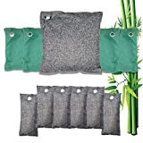 Product Image of the Bamboo Charcoal Air Purifying Bags, Activated Charcoal Odor Absorber Bag Odor Eliminator for Home, Kitchen, Car, Closet, Shoes, Basement, Bathroom, Pet 11 Pack (1X500g,4X200g,6X75g)