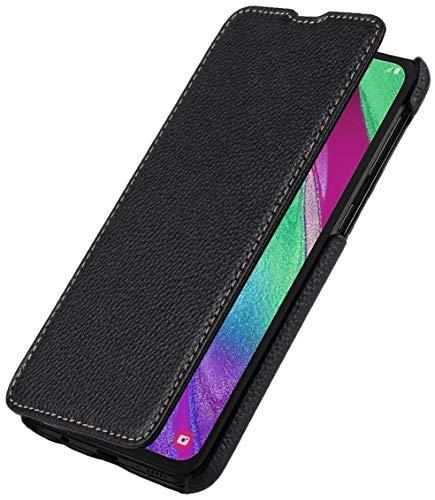 StilGut Book Hülle kompatibel mit Samsung Galaxy A40 Hülle aus Leder zum Klappen, Klapphülle, Handyhülle, Lederhülle, dünn - Schwarz